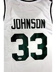 Magic Johnson Autographed Michigan State Spartans White Jersey PSA DNA d81f6e603