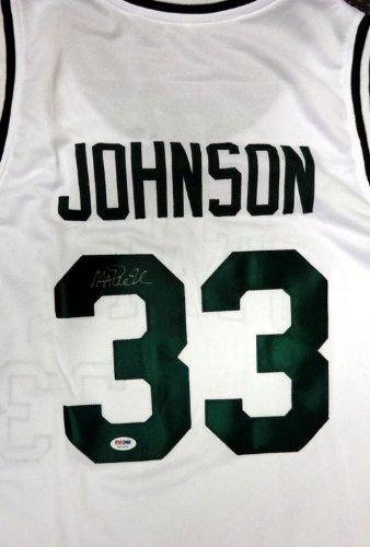 MICHIGAN STATE SPARTANS MAGIC JOHNSON AUTOGRAPHED WHITE JERSEY PSA/DNA STOCK #53227