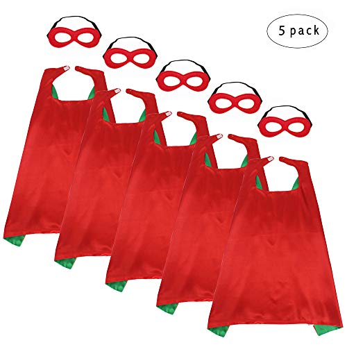 iROLEWIN Children's Superhero Capes with Mask Set - Boys and Girls Cosplay Fancy Capes - Kids Dress Up Holiday Party ()