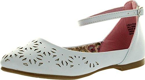 Little Angel Girls Lola-731E Leatherette Perforated Ankle Strap Ballet Flat Sandal,White,4 Lola Ankle Strap Sandals
