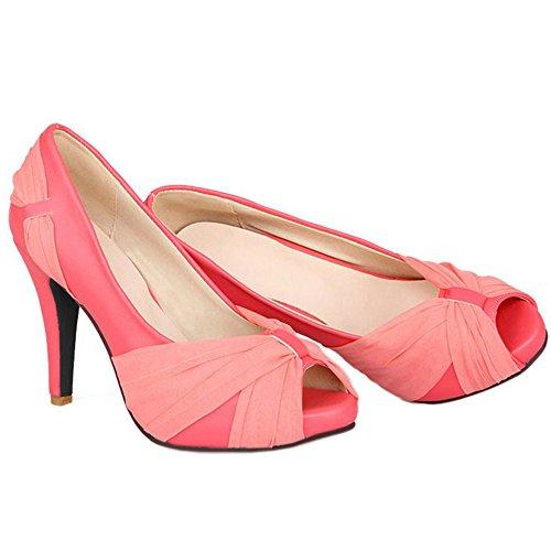 À talons hauts Razamaza Bout Chaussures Escarpins Peeo Mode à Femme Rose Uww8xtEq