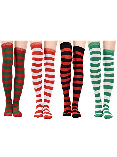 (Jovitec 4 Pairs Long Striped Socks Knitted Knee Thigh High Socks for St. Patrick's Day and Daily Wear (Multicoloured B))