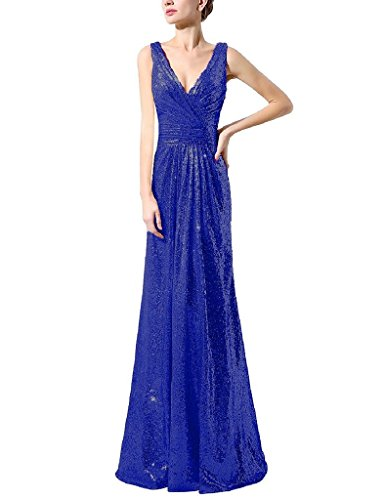 H.S.D Womens Deep V-neck Sequins Evening Party Dress Prom Gown Royal Blue