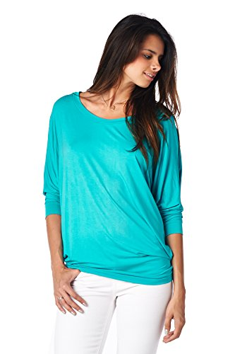Jubilee Couture Women's Solid Color Dolman 3/4 Sleeve Pullover Tee Shirt Top Blouse (X-Large, Aqua)