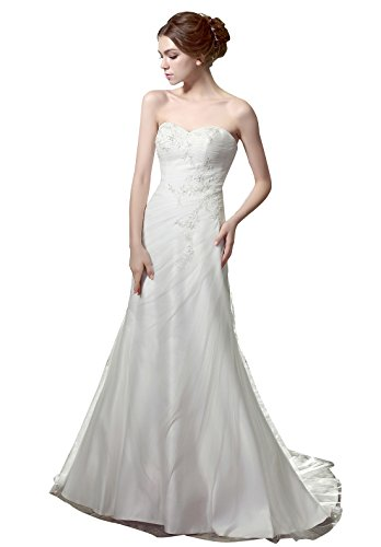 HeleneBridal® Informal Strapless Sweetheart Tulle Simple Wedding Dress 30W Ivory (Dresses Informal Wedding Strapless)