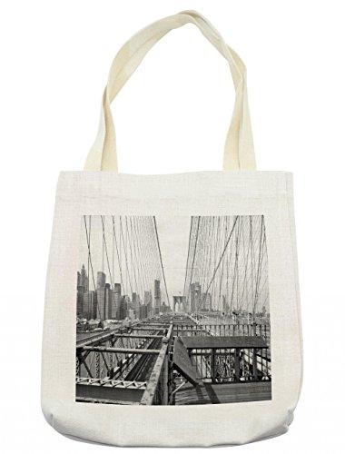 Lunarable Modern Tote Bag, Vintage View of Brooklyn Bridge in New York City Mechanic USA American Print, Cloth Linen Reusable Bag for Shopping Groceries Books Beach Travel & More, Cream