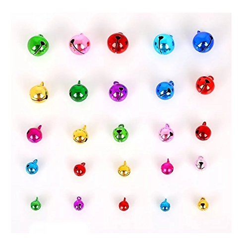 Stock Show 40Pcs 6MM-20MM Jingle Bells Mini Small Bells for Pet Collar Charm DIY Bracelet Anklets Necklace Knitting/ Jewelry Making Accessories, Random Color