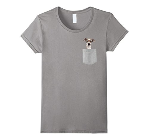 Womens Dog in Your Pocket Greyhound with glasses on t shirt shirt Medium Slate