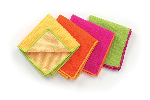 Ritz 100% Polyester Microfiber 12-inch x 12-inch Multi Purpose Kitchen Dish Towel, Gentle Cleaning Wash Cloth with Poly Scour Side, Assorted Pink/Yellow/Orange/Green, 4-Pack - John Ritzenthaler Towel