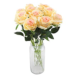 Flojery Artificial Rose Flowers Silk Floral Fake Rose Bouqets Arrangment for Home Party Wedding Garden Decor,10pcs 6