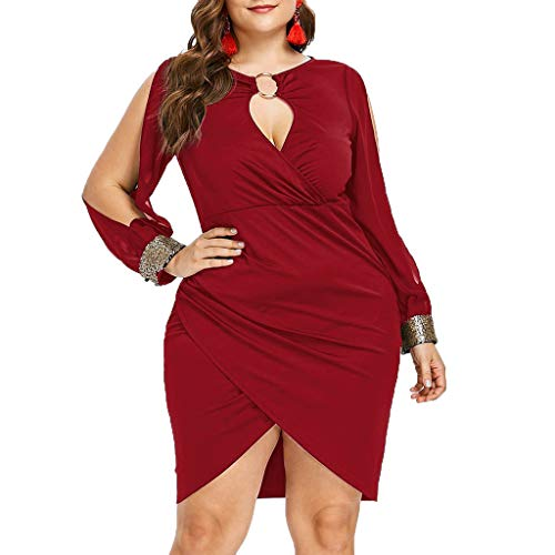(TANGSen Women Long Sleeve Sequin Plus Size Dress O-Neck Fashion Casual Sheath Dress Keyhole Neck Ring Slit Bodycon)