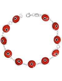 Sterling Silver Evil Eye Bracelet Red, 7 inch