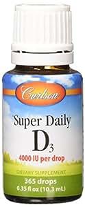 Carlson Super Daily D3 4,000 IU (100 mcg), Heart & Immune Health, Teeth & Bone Strength, Unflavored, 365 Drops