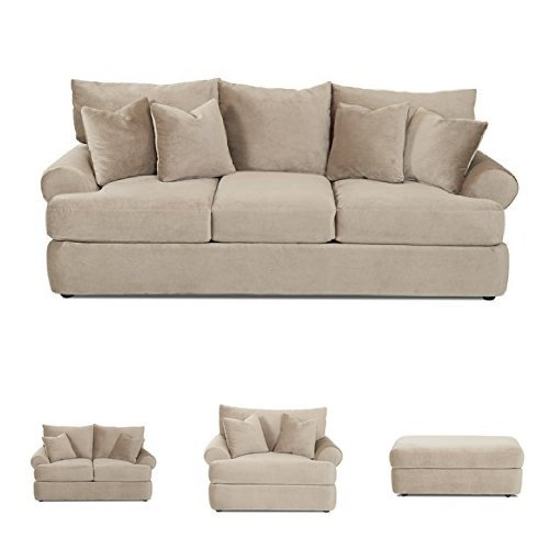 Klaussner K41200 Cora Collection Living Room Set with Sofa, Loveseat, Chair, and Ottoman, in soft microsuede fabric - Klaussner Home Furniture