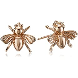 14k Rose Gold Plated Sterling Silver Bumblebee Stud Earrings