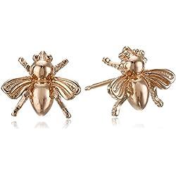 14k Rose Gold Plated Sterling Silver Bumblebee Stud Earrings