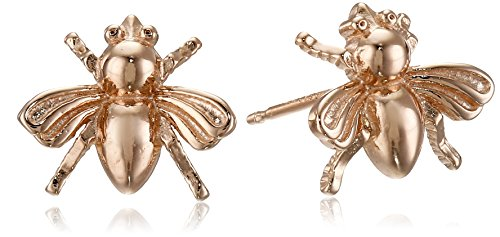 Jewelry Gold Collection (14k Rose Gold Plated Sterling Silver Bumblebee Stud Earrings)