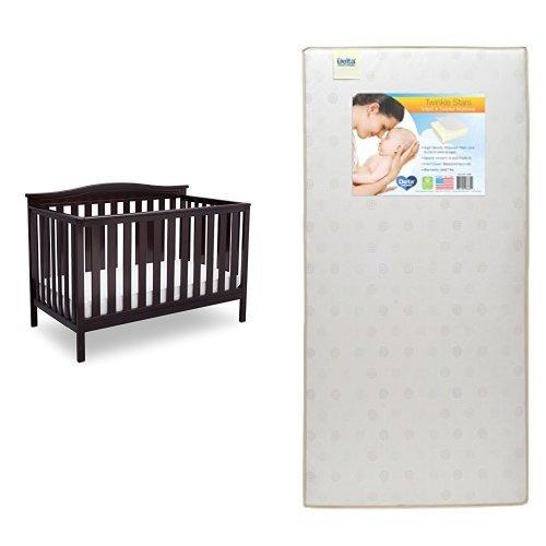 Delta Children Independence 4-in-1 Convertible Crib, Dark Chocolate with Twinkle Stars Crib & Toddler Mattress
