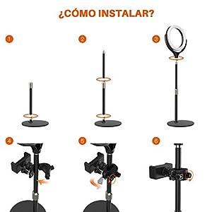 Comprar aro de luz led para escritorio con base de metal. Ideal para fotografía y videos de maquillaje.