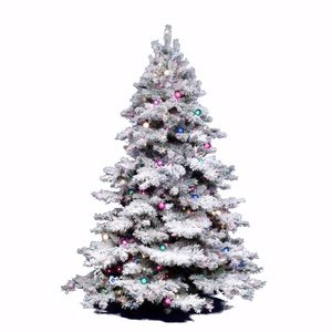734205014318 - Vickerman Flocked Alaskan Tree with Dura-Lit 1200 Clear Light, 9-Feet by 73-Inch carousel main 0