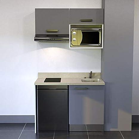 CUISIBANE Kitchenette K02 – 120 cm (con Tarjetero Nevera Top, Campana y microondas – champán, Macadam, Armario de Derecha: Amazon.es: Hogar