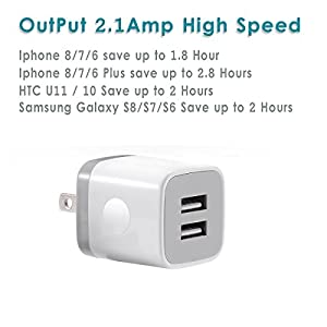 USB Wall Charger, LOOGGO Universal Dual USB 2.1AMP Wall Charger Plug Power Adapter Charger Block Cube for iPhone X/8/7/6 Plus, iPad, Samsung Galaxy S5/S6/S7 Edge, LG, ZTE, Motorola (White) 3-Pack