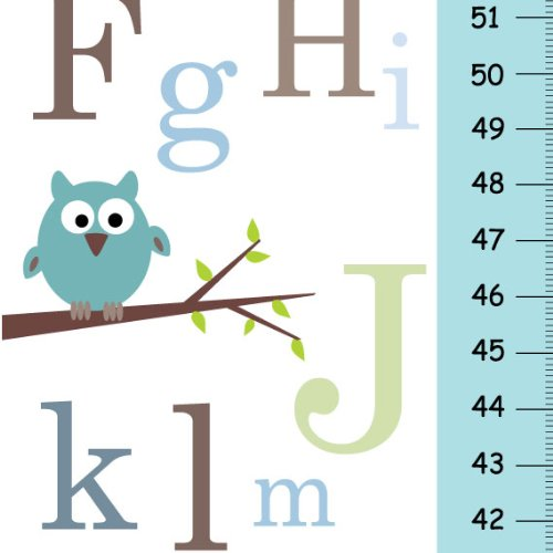 (ABC Alphabet Personalized Growth Chart for Children with Blue Owl on Branch )