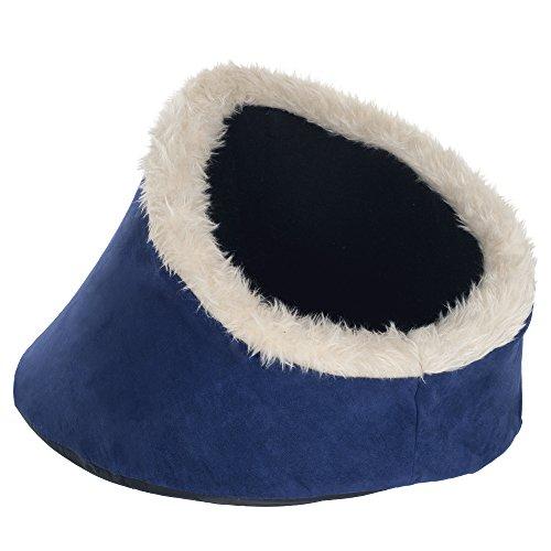 PETMAKER Feline Cat Comfort Cavern Pet Bed, Blue