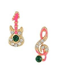 Ever Faith Gold-Tone Austrian Crystal Enamel Lovely Guitar and Musical Note Stud Earrings Pink N05316-1