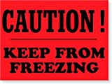 keep from freezing label - Caution Keep from Freezing, Fluorescent Paper Labels, 500 Labels / Roll, 4