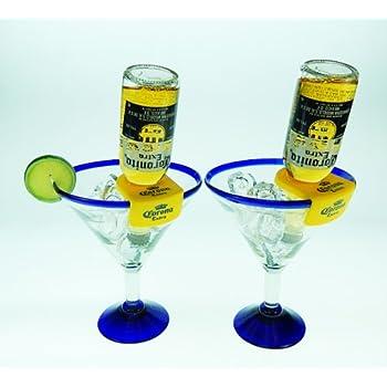Amazoncom Mexican Glass Margarita Blue Rim 20 Oz with
