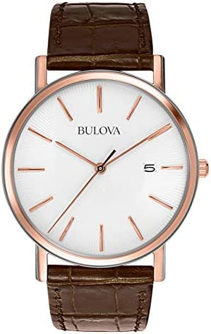 Bulova Classic Mens 98H51XG Quartz Rose Gold Case Brown Leather Strap 37mm Watch Renewed