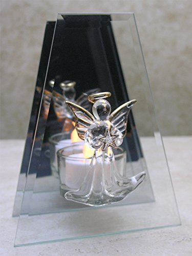 BANBERRY DESIGNS Memorial Candle Holder - Glass Infinity Candle Holder with Angel Holding a Star - Gold Trimmed and Mirrored Back - Glass Angels Candle Holder
