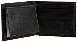 Nautica Men's Milled Leather Passcase Wallet with Removable Card Case, Black, One Size