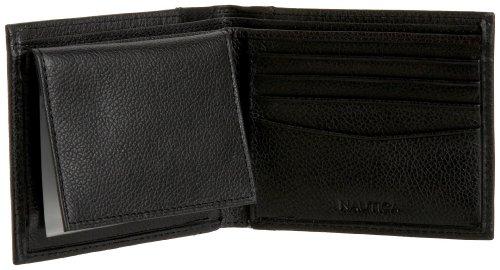 Nautica Men's Milled Leather Passcase Wallet, Black