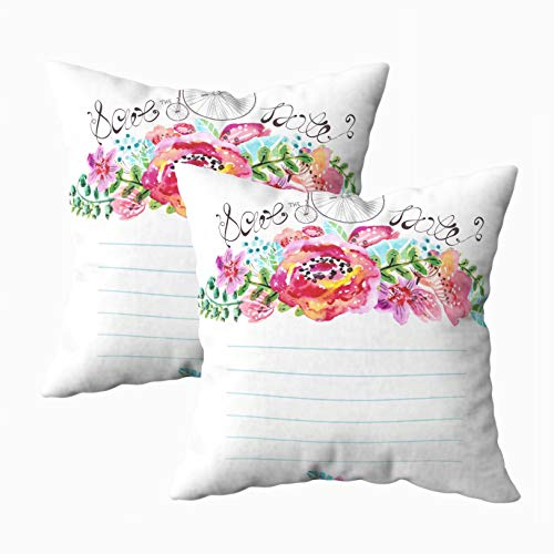 TOMWISH Decor Pillow Covers, 2 Packs Hidden Zippered 18X18Inch Watercolor Floral Frame Wedding Invitation Save The Date Retro Bicycle Decorative Throw Cotton Pillow Case Cushion Cover for Home Decor (Difference Between Save The Date And Wedding Invitation)
