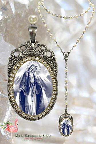 Our Lady Mary Mediatrix of All-Grace Rosary - Handmade Miraculous Medal Christian Religious Jewelry Medal Pendant Nossa Senhora das Graças (Our Lady Mary Mediatrix Of All Grace)