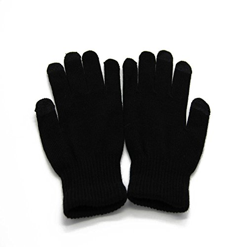 Momoday® Cool Screen Touch Gloves Warm Unisex Winter Gloves Products Knit Touchscreen Gloves with Conductive Fingertips for Use with All Touchscreen Electronic Devices (Black)