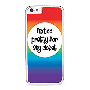 Insomniac Arts - Too Pretty for Any Closet, LGBT & Gay Pride - Case for iPhone 6 Plus, White Silicone Rubber Cover