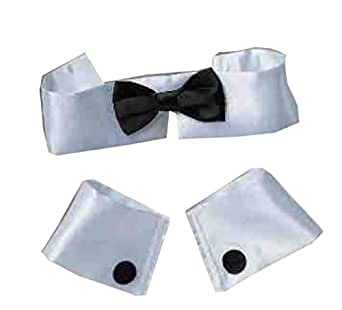Forum Women's Costume Collar Bow Tie and Cuff Set, Black/White, One Size