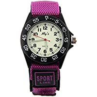 ELEOPTION Water Resistance Analog Quartz Beige Dial With Fabric Canvas Band Luminous Military Teenager Unisex Adult Wrist Watch for Boys Girls Student (Purple)