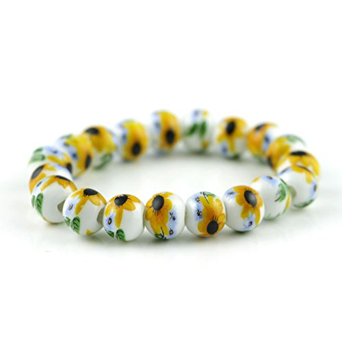 Jan Dee Sunflower Ceramic Beads Elastic Bracelet Christmas Gift For Girl Ceramic Sunflowers