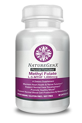 NatureGenx - Physician Formulated - Methyl Folate (5 MTHF) 1,000 mcg with Quatrefolic - High Potency Doctor Strength Naturally Occuring Form of Folate, Optimized and Activated - 60 V-Capsules- Non GMO