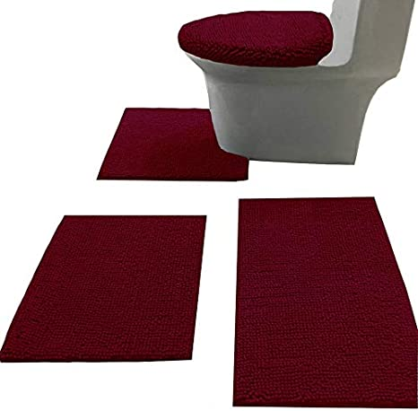 Amazon Com Madeals Bath Rug Set 4 Piece With Toilet Lid Cover And Combo Soft Shaggy 3 U Shaped Floor Burgundy Home Kitchen