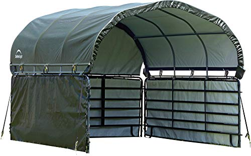 (ShelterLogic 51483 10' x 10' Corral Shelter Enclosure Kit, Green)