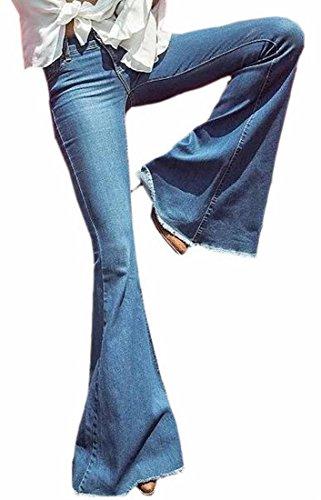Jaycargogo Women's Bell Bottom Jeans Flared Jean Denim Wide Leg Full Length Pants Blue 24