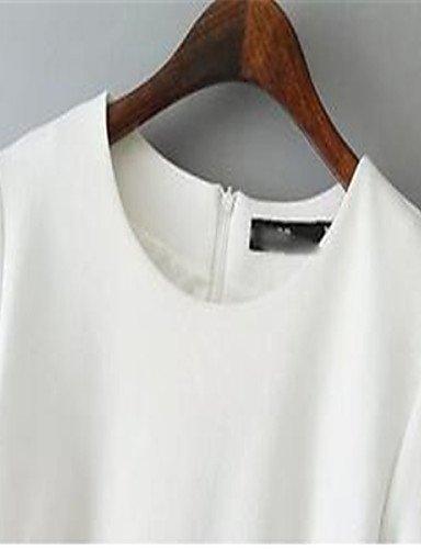 PU&PU Robe Aux femmes Ample Simple,Couleur Pleine Col Arrondi Au dessus du genou Polyester , white-l , white-l