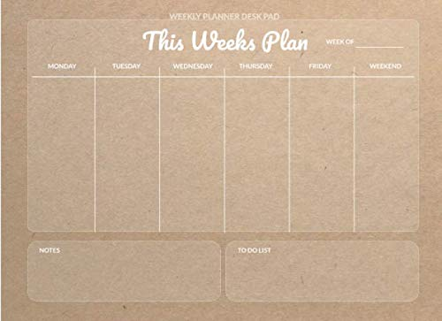 Desk Pad: Undated Monthly Calendar, Weekly Desk Planner, Daily To Do List Notepad Organizer for Writing Dates Notes, Rustic Kraft Brown Design 2 (Mini Calendar)