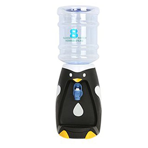 Animal Water Dispenser Water Bottle Dispenser Stand for Kids/75oz/ 2.2L/ 0.58Gallon (Black Penguin)