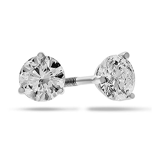 Diamond Stud Earrings Natural Round 14k Gold with Screw Backs IGI Certified 1/4 Carat Total Weight by Shine On